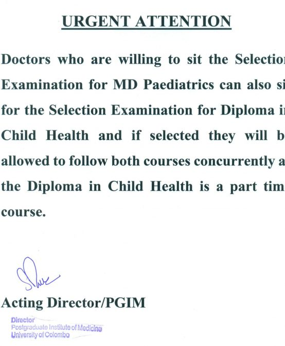 (Urgent Attention) SE for MD Paediatrics and SE for Dip. in Child Health