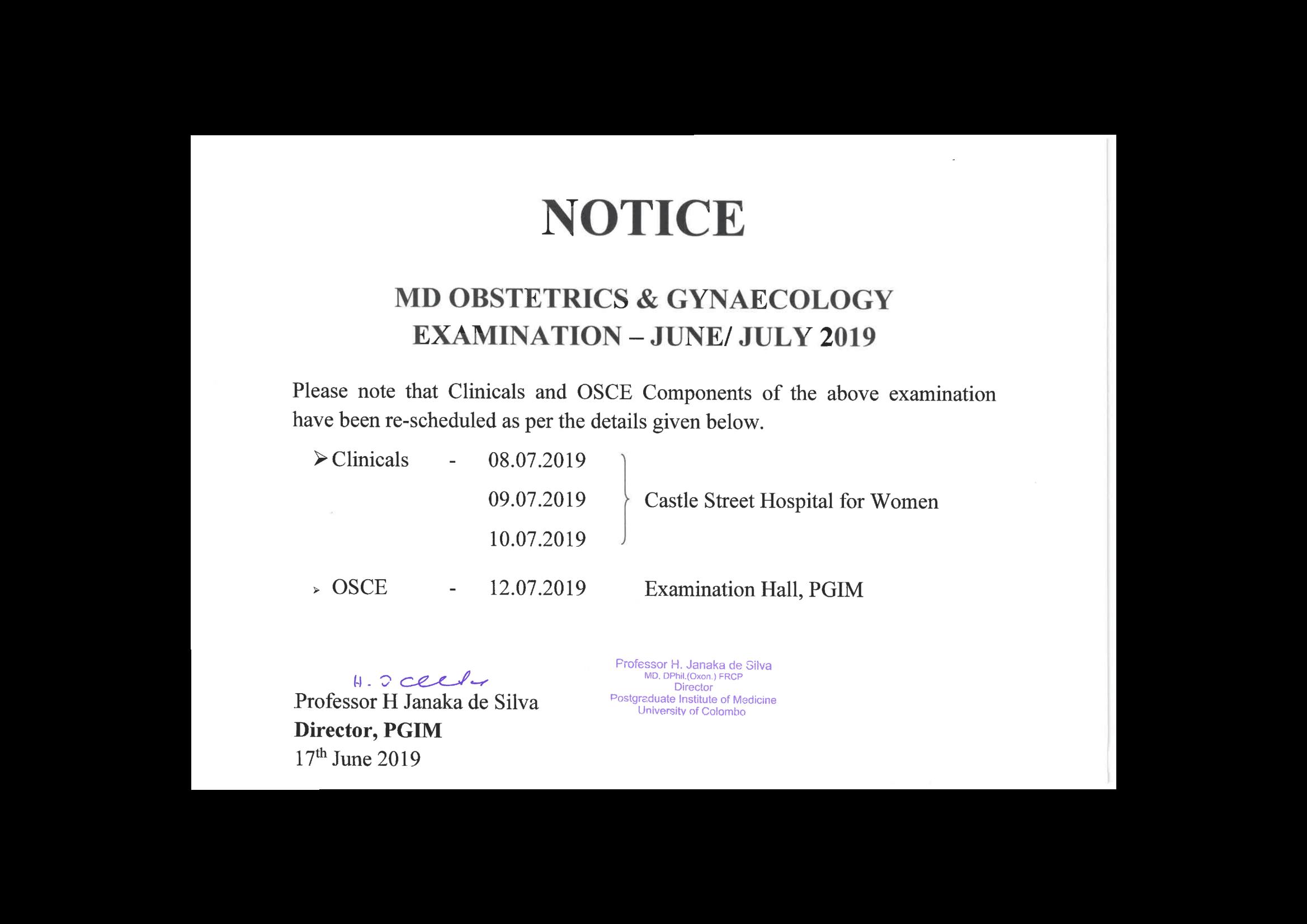 Rescheduled Exams (Sele  Exam  for MSc Biomedical