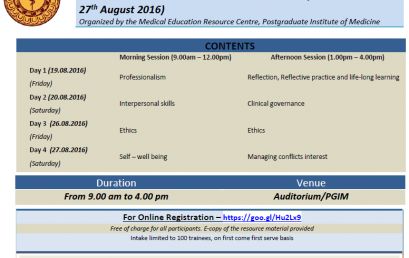 A four day workshop on 'Professionalism and Ethics in Medical Practice Strand'
