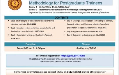 Short Course in Medical Research Methodology for Postgraduate Trainees