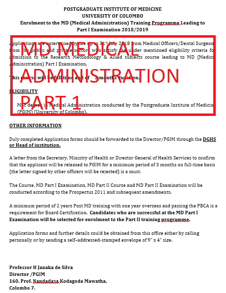 Enrolment to the MD (Medical Administration) – Leading to  Part I Examination 2018/2019