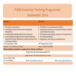 PGIM Examiner Training Programme September 2018