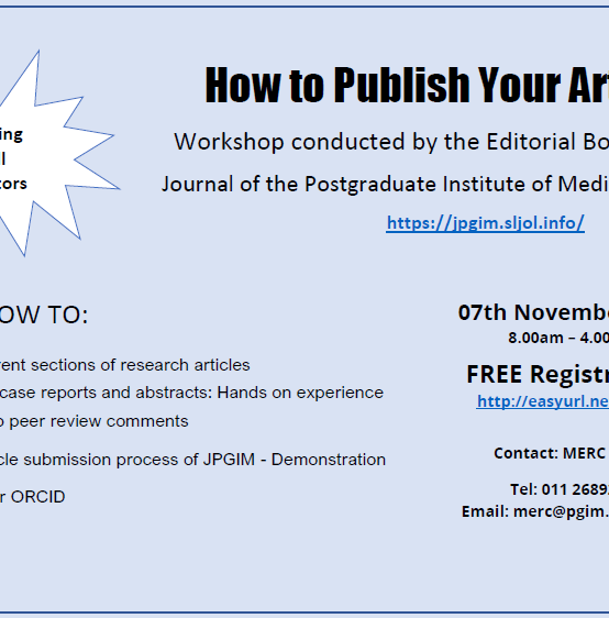 How to Publish Your Article-Workshop conducted by the Editorial Board of the Journal of the Postgraduate Institute of Medicine (JPGIM)