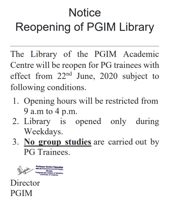 Reopening of PGIM Library