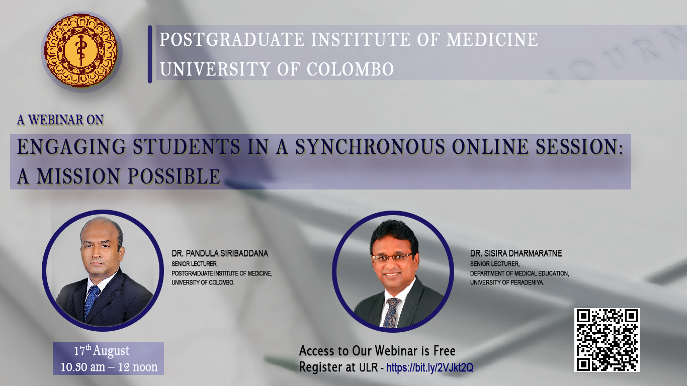 A Webinar on ENGAGING STUDENTS IN A SYNCHRONOUS ONLINE SESSION